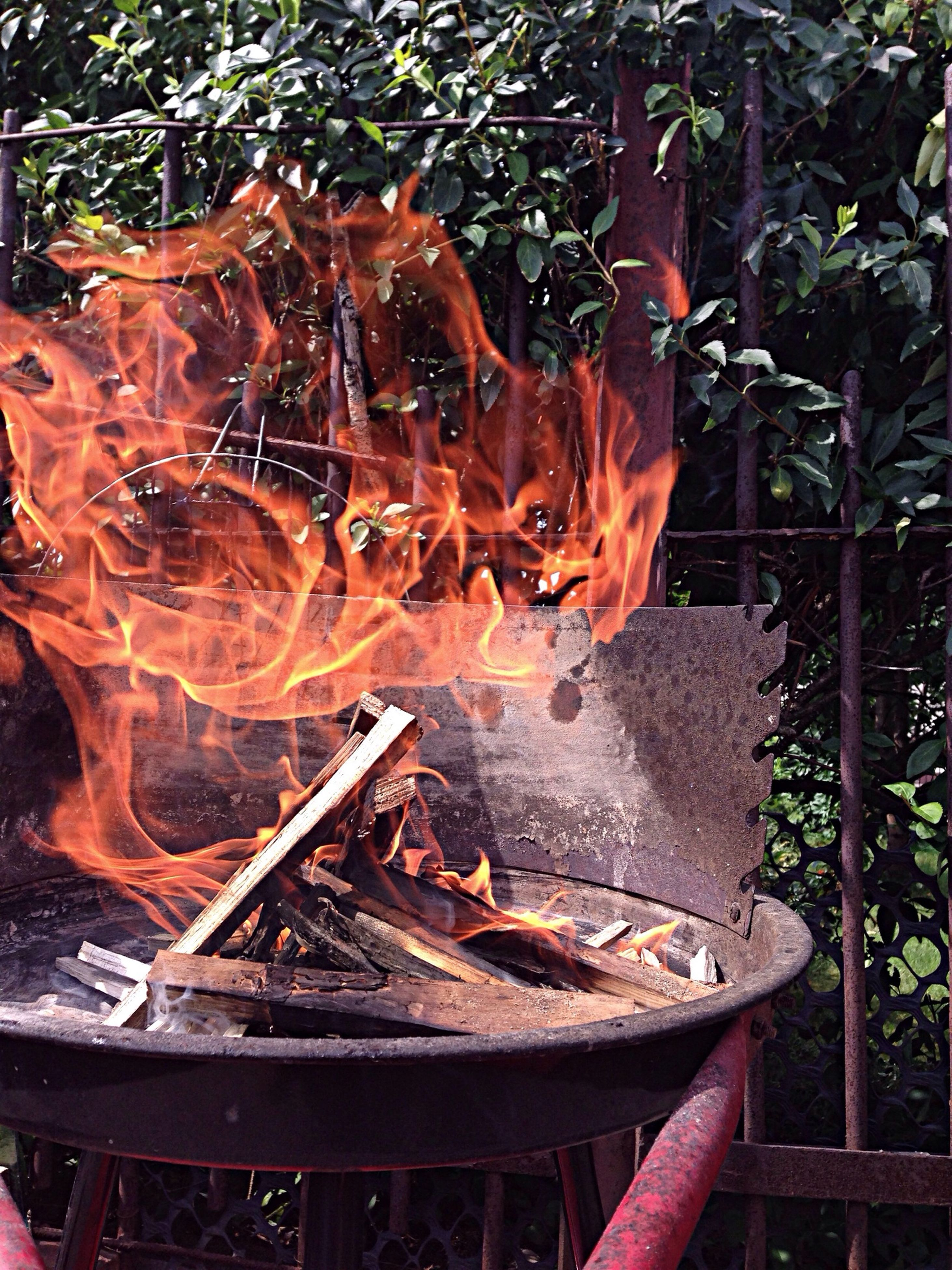 food and drink, heat - temperature, fire - natural phenomenon, burning, flame, meat, food, freshness, barbecue grill, barbecue, close-up, preparation, firewood, wood - material, cooking, high angle view, metal, indoors, still life, seafood