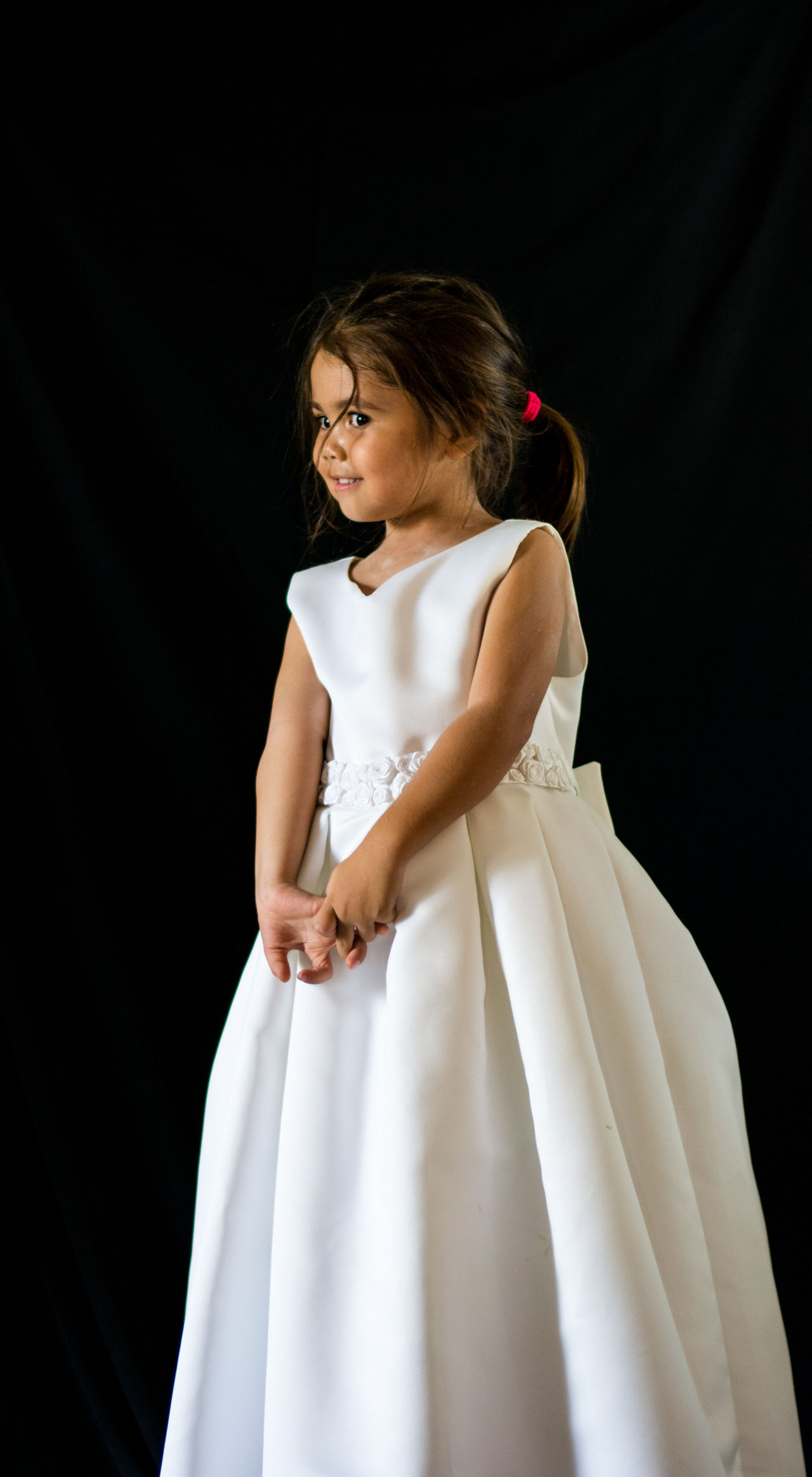 Beautiful stock photos of black background, 4-5 Years, Black Background, Brown Hair, Childhood