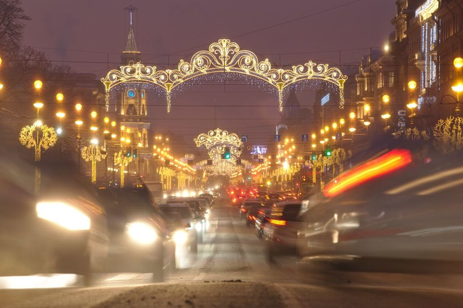 Nevsky Prospect, decorated to New Year. Blurred Motion Car Cars Christmas Lights City City Street Decoration Garlands Land Vehicle Long Exposure Nevsky Prospect New Year Night Night Lights Nightlife Prospect Saint Petersburg Street Twilight