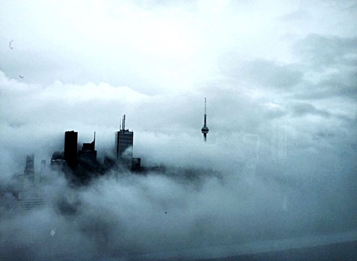 Feeling Homesick  today. Building Exterior Architecture Sky Built Structure Cloud - Sky No People Outdoors Tower Nature City Day Cityscape Fog Toronto Cntower Throwback EyeEmNewHere