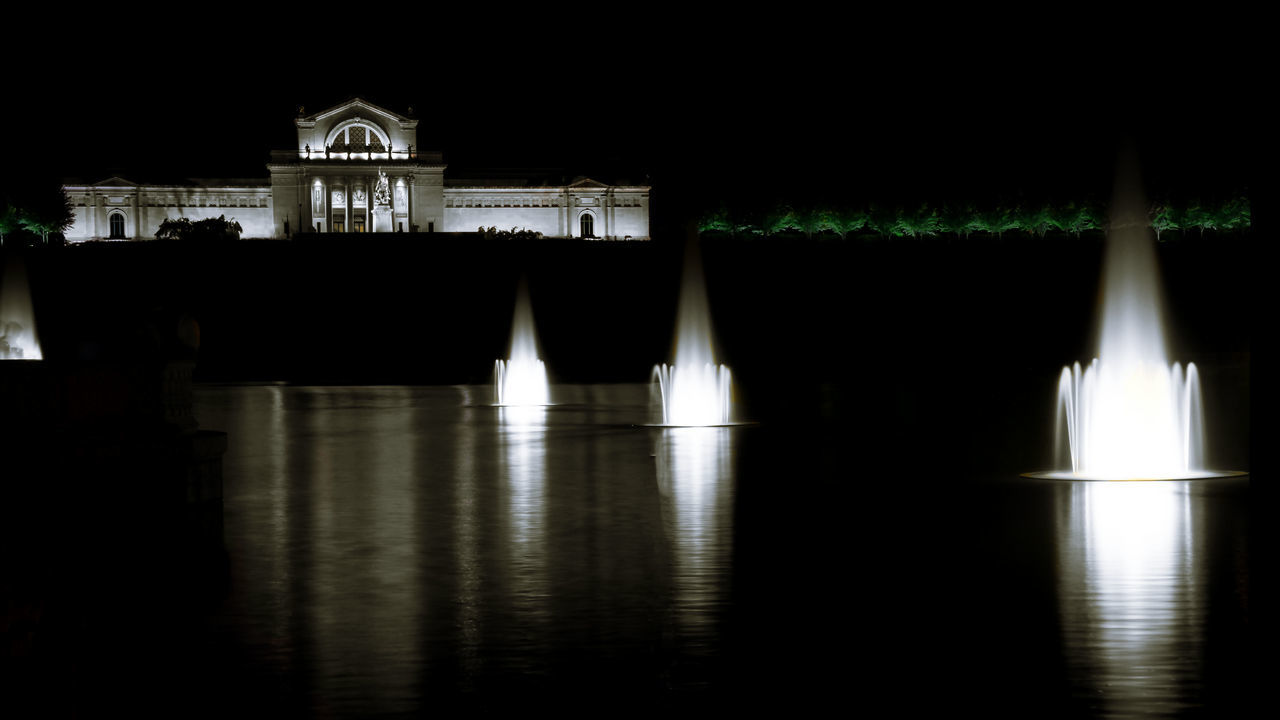 Architecture Art Art Museum Building Exterior Dark Forest Forest Park Museum Night No People Outdoors Park Reflection St. Louis St. Louis Art Museum Tranquility Water Waterfront