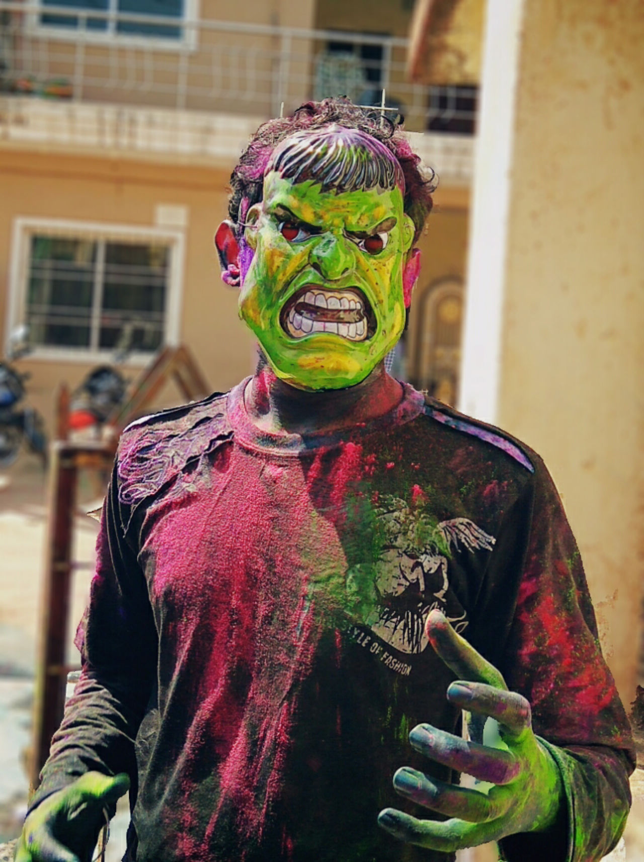 One Person Young Adult Multi Colored Holi Colors Holi Colour Festival Holi Celebration.india Celebration Outdoors Angry Face Angry Man EyeEm Diversity Art Is Everywhere Art Is Everywhere
