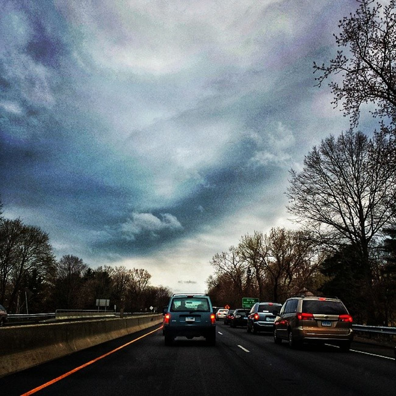 Sky is breaking and so are the cars. Commuter