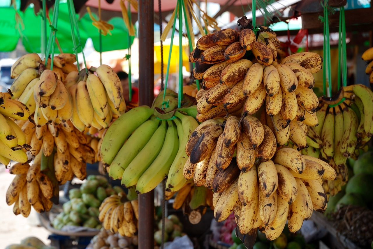 Banana Close-up Food And Drink Fruit Hanging Market Market Stall No People Outdoors