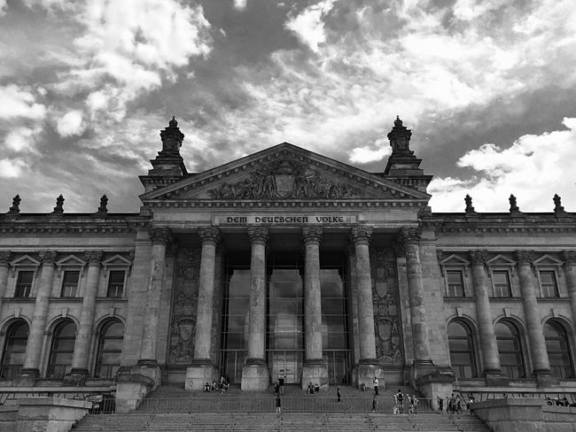 Blackandwhite B&w Streetphotography Street Monochrome Architecture Urban Berlin Street Photography Cityscapes Outdoors Travel EE Love Connection! Eeyem Photography Culture Light And Shadow On The Way Clouds Sky Black And White Building Traveling