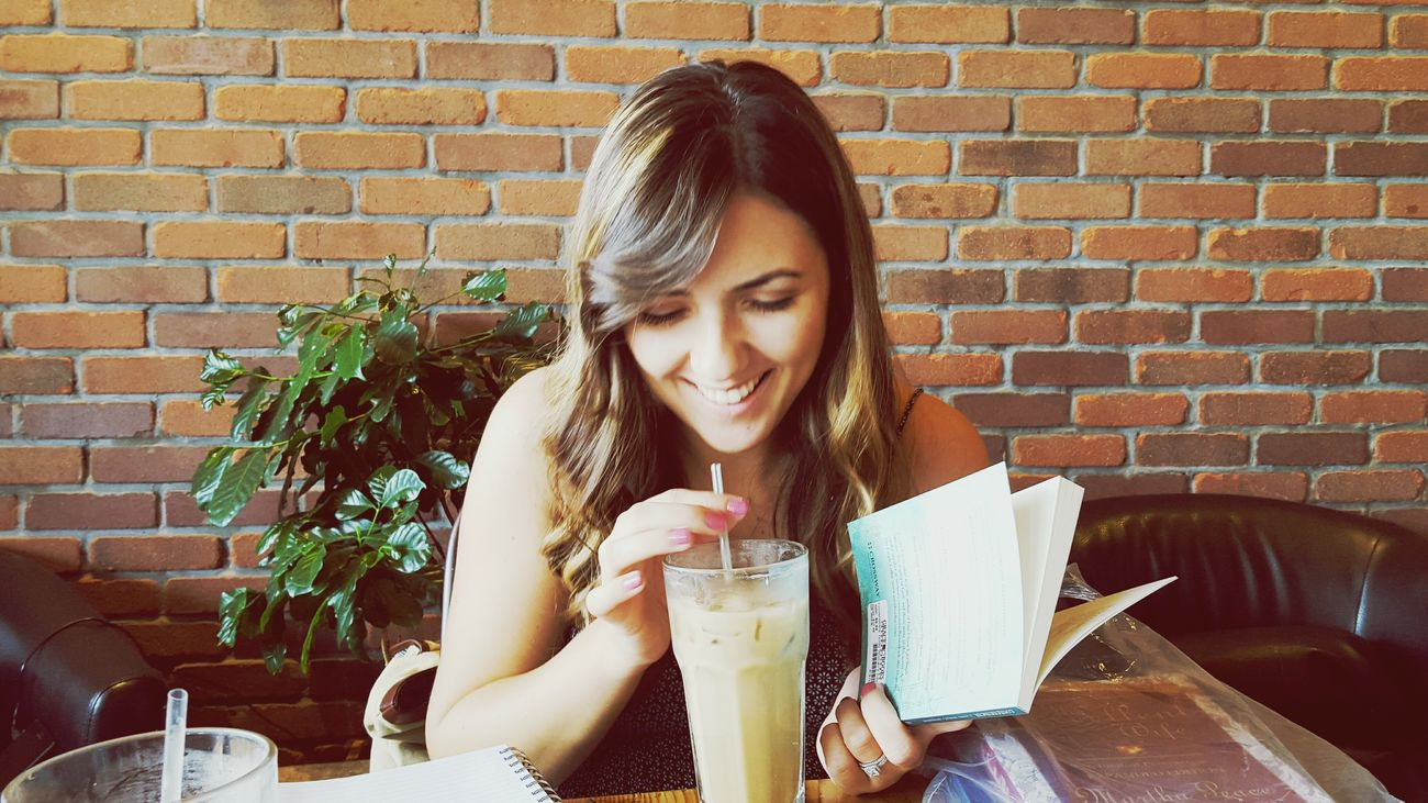 Her coffee and my books