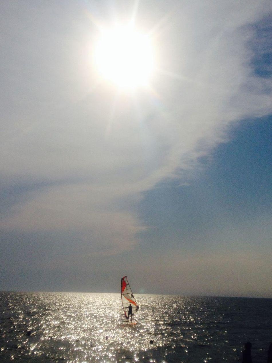 Serfing on Asov Sea Sea Asov Windserfing San Sanshine Summer 43GoldenMoments