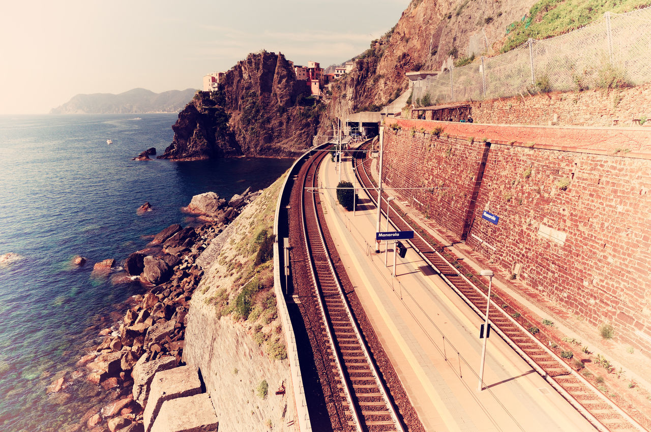 City Cliff Famous Landmarks Famous Place Italy Landscape Liguria Manarola Mode Of Transport Nature Panoramic View Scenics Sea Small Town Touristic Attraction Transportation Vintage Vintage Photo