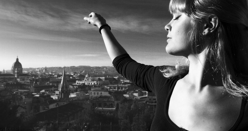 Architecture Beauty Blackandwhite Church City Cityscape Dancing Famous Place Freedom Italy Lifestyles Long Hair Outdoors Person Pincio Portrait Residential District Rome Sky Smile Stone Material Woman Young Adult Monochrome Photography