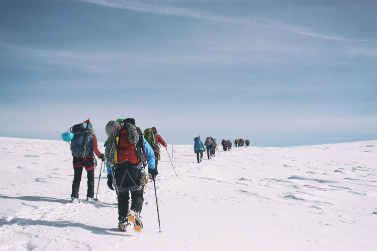 Adventure Cold Temperature EyeEm Nature Lover Greece Landscape Large Group Of People Mountain Nature Olympus Mountain Outdoors Scenics Sky Snow Winter