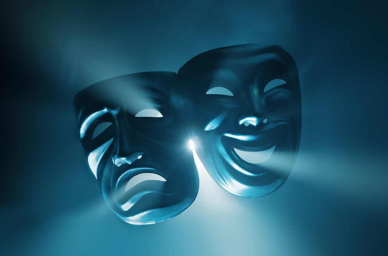 Crying and smiling masks in hazy light. Contrasting Colors Crying Entertainment Expression Face Feelings Glass Hazy  Laugh Light Mood Mood Setting Objektifimden Opposite Pair Smile Smiling Studio Shot Symbolism Theater Theater Life Theatre