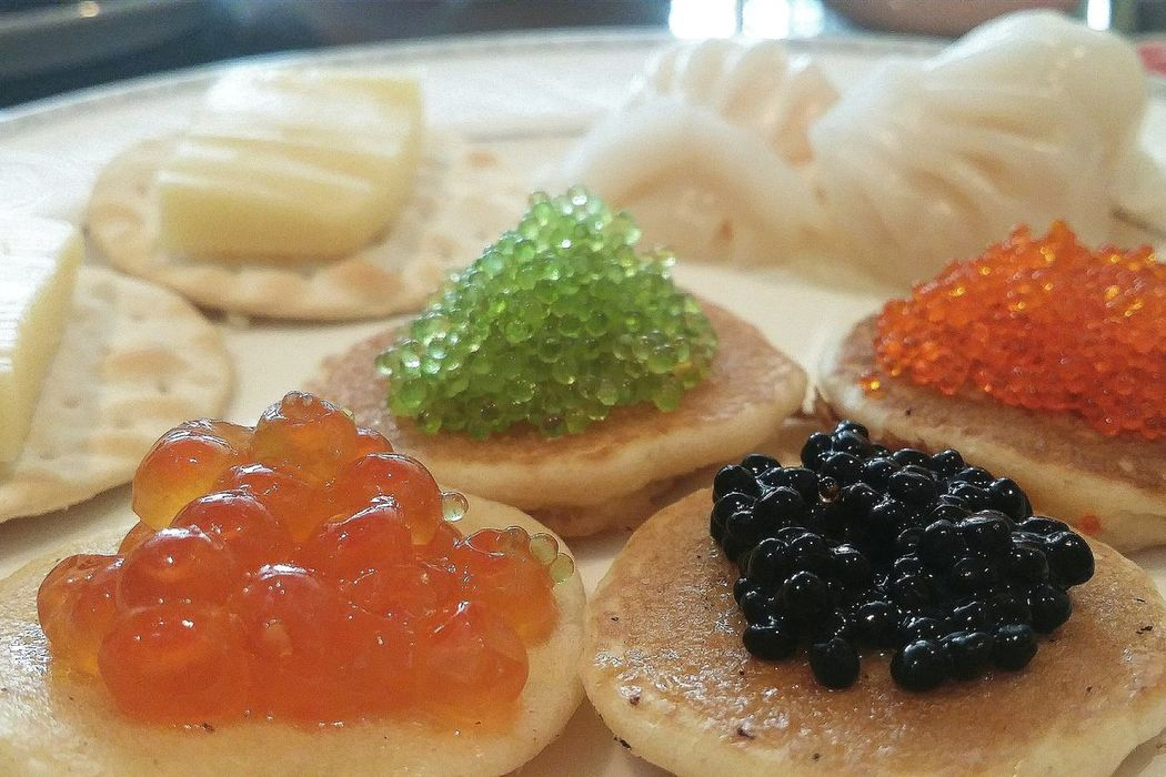Blinis Caviar Prawn Dumplings Ha Kau Cheese On Crackers Cultures Unite Singapore