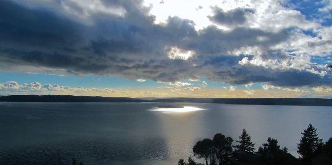 Heavenly Guiding Light Cloud - Sky Eye Of The Storm God Good Karma Horizon Over Water Light Outdoors Puget Sound, Washington Safe Passage Scenics Sea Ships Storm The Guiding Light