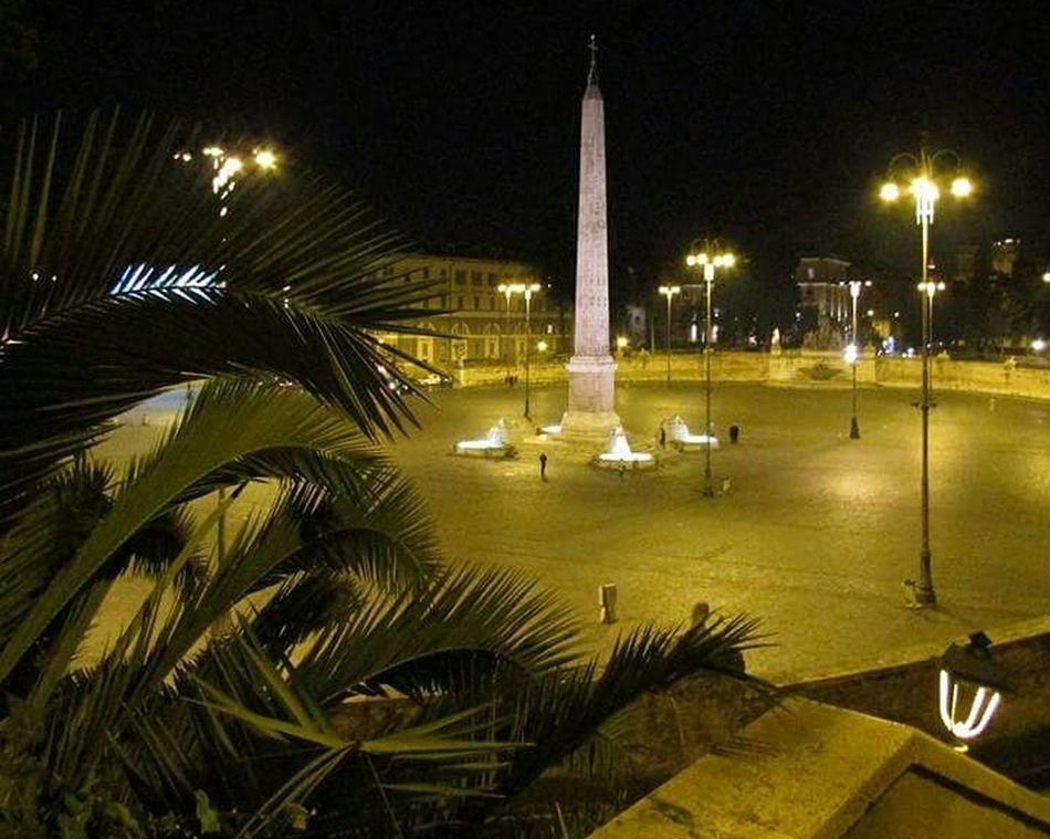Piazza Del Popolo Obelisco Rome By Night Rome, Italy Piazzale Flaminio Palm Tree Illuminated Night