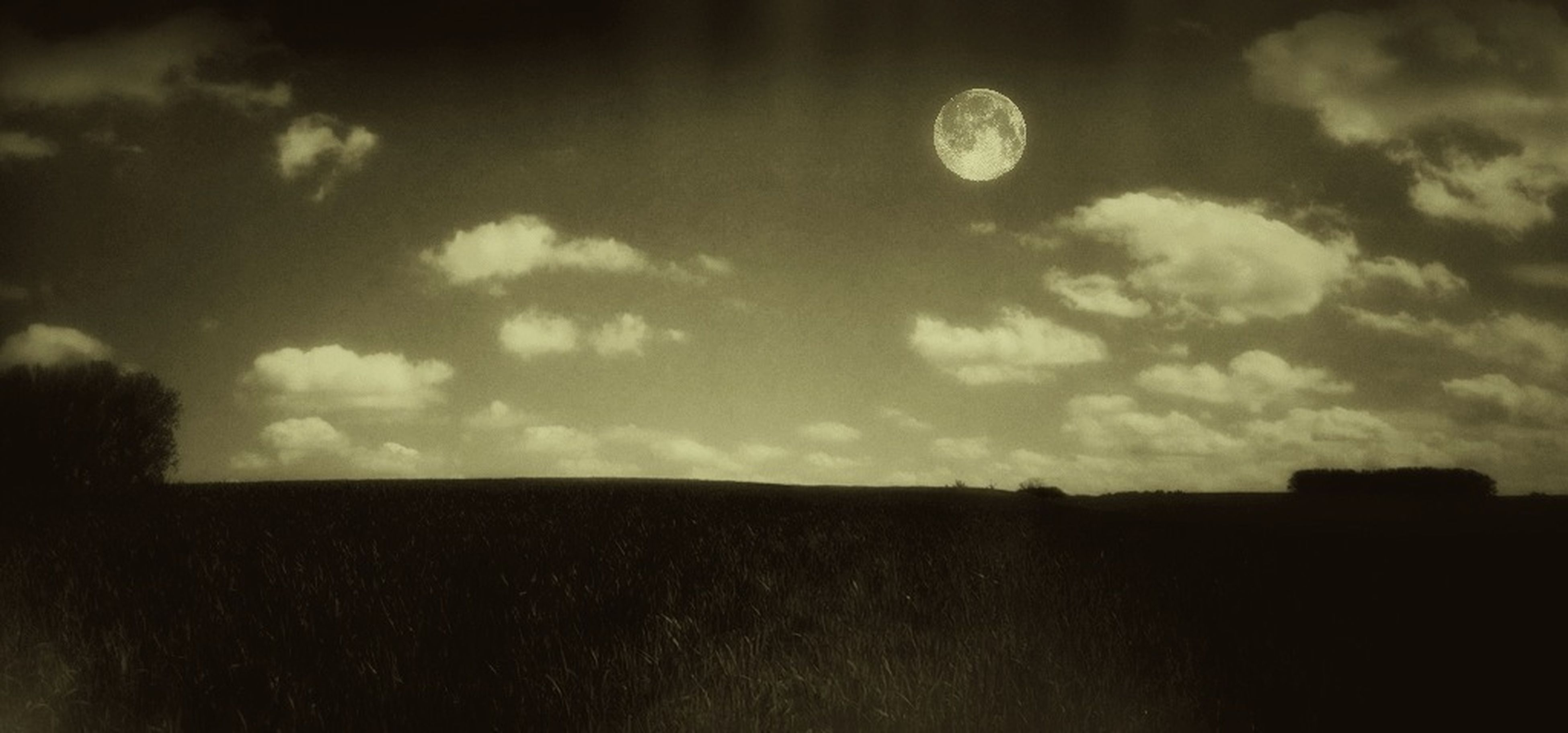 sky, landscape, tranquil scene, silhouette, tranquility, cloud - sky, scenics, field, beauty in nature, nature, cloud, moon, cloudy, dusk, sunset, dark, outdoors, horizon over land, rural scene, idyllic