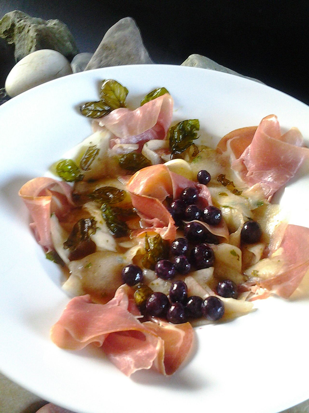 My Home Cooking Crudo Italiano Prosciutto Crudo Melon Fried Basilicum Leaves Black Berries Showcase: February