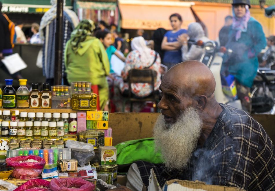 Beard Bearded Man Market Marrakech Medina Potions Real People Square Trade