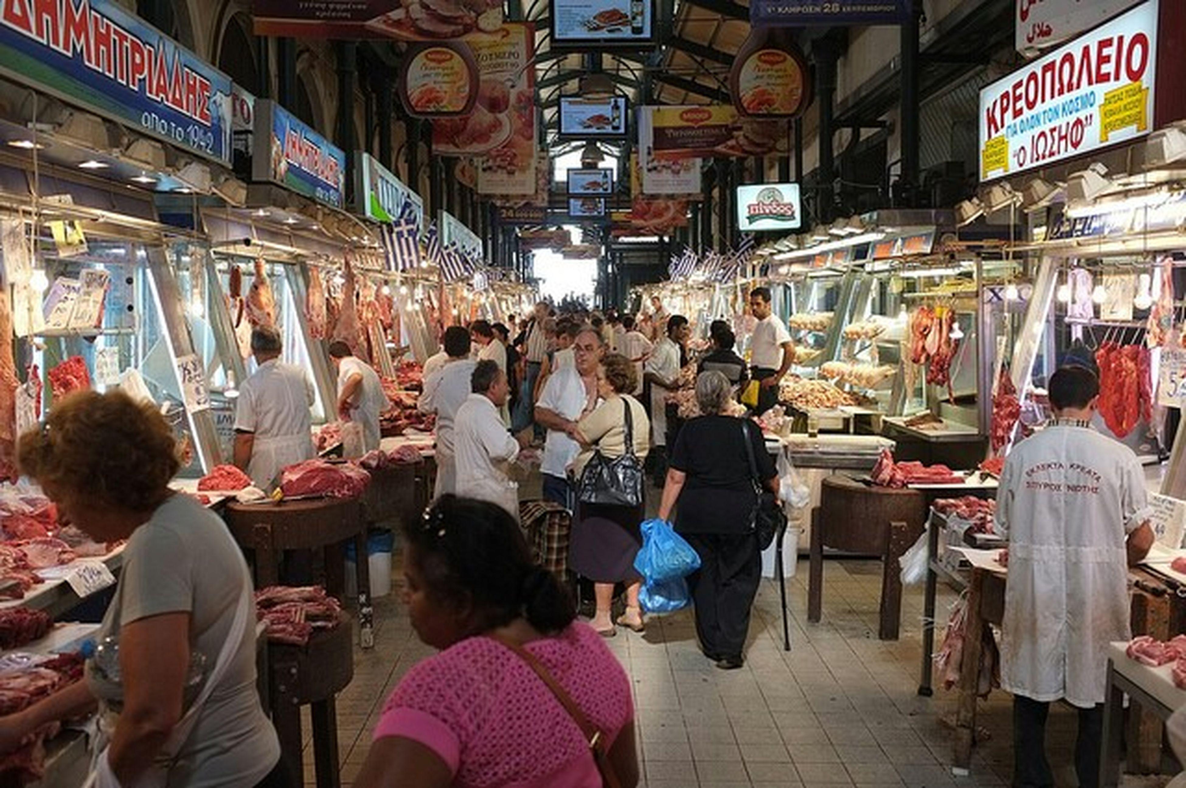 Greek meatmarket in Athens, Greece