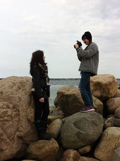 My son and daughter Real People Photographing Full Length Two People Standing Sea Water Rock - Object Outdoors Photography Themes Leisure Activity Men Women Day Holding Camera - Photographic Equipment Beach Technology Lifestyles