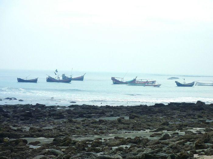 Saint Martin Island Seashore Winter Seaboat Troller Black Stones Beautiful Bangladesh
