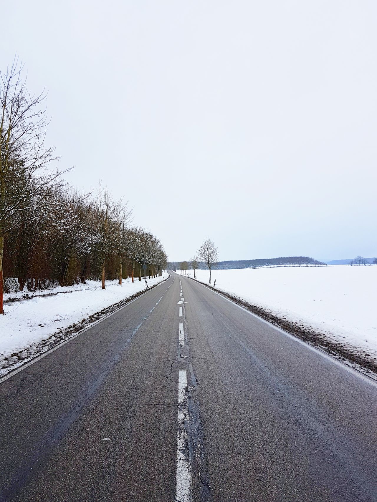 ...made it to Weilerbach. Winter Landscape Road Snow Schnee