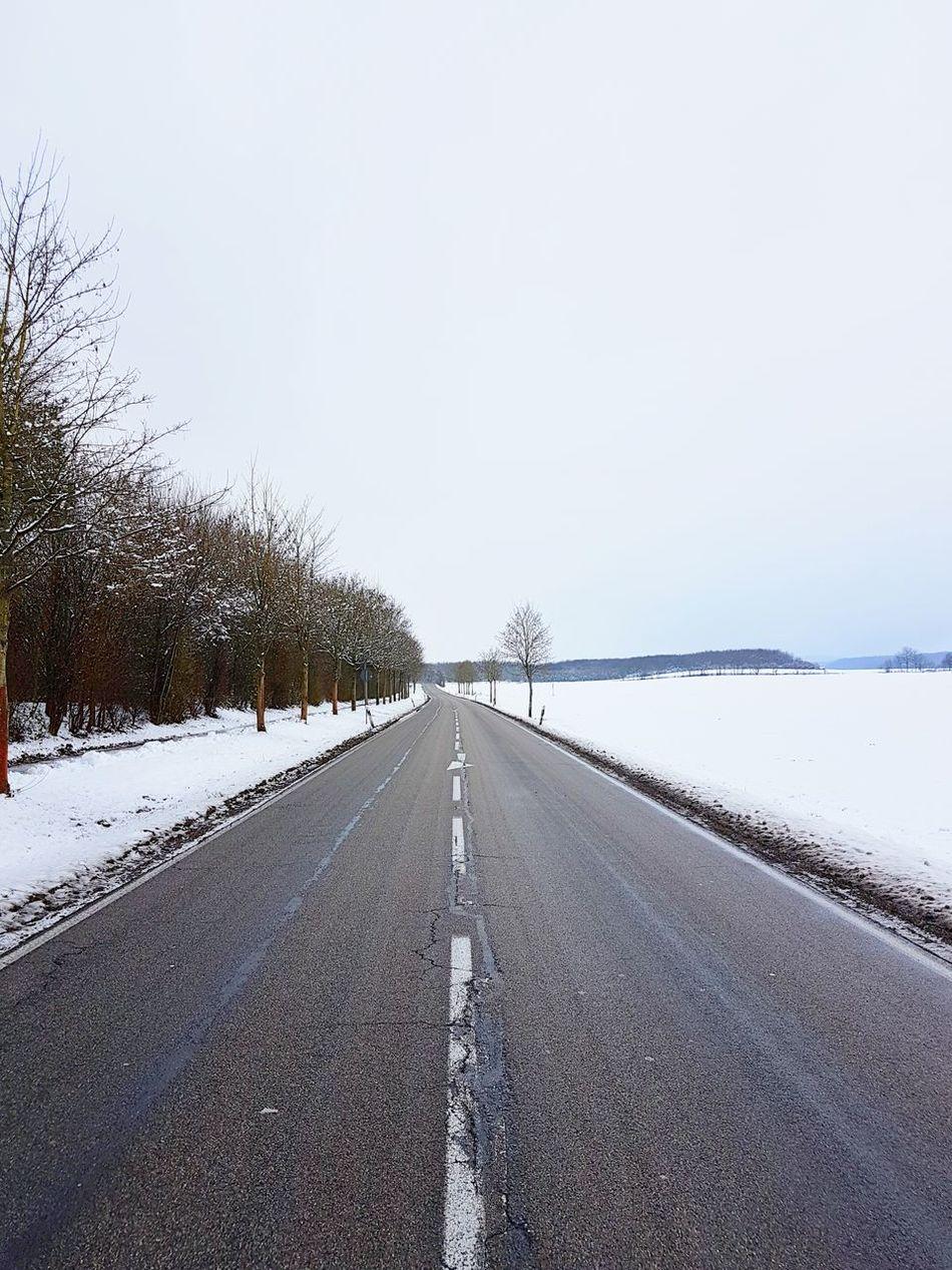 ...made it to Weilerbach. Winter Landscape Road Snow Schnee