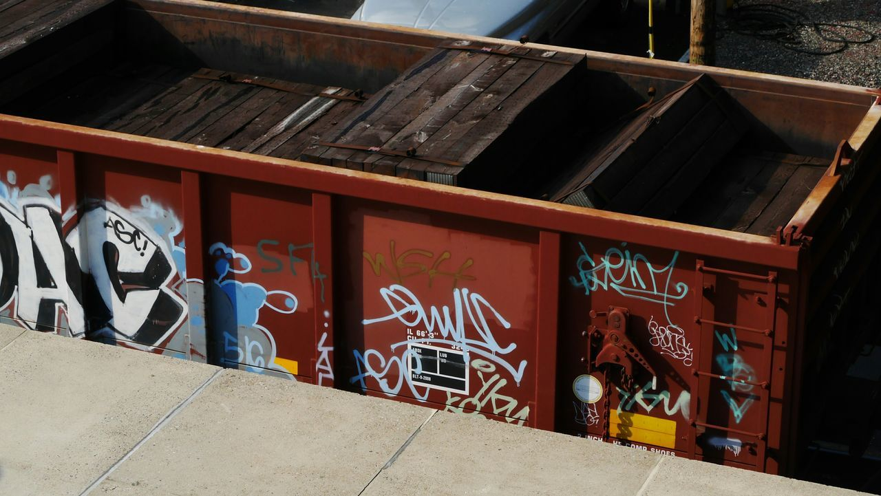 Ties in a box with a tag. Train Railroadties Graffiti Graffiti Art Everything In Its Place