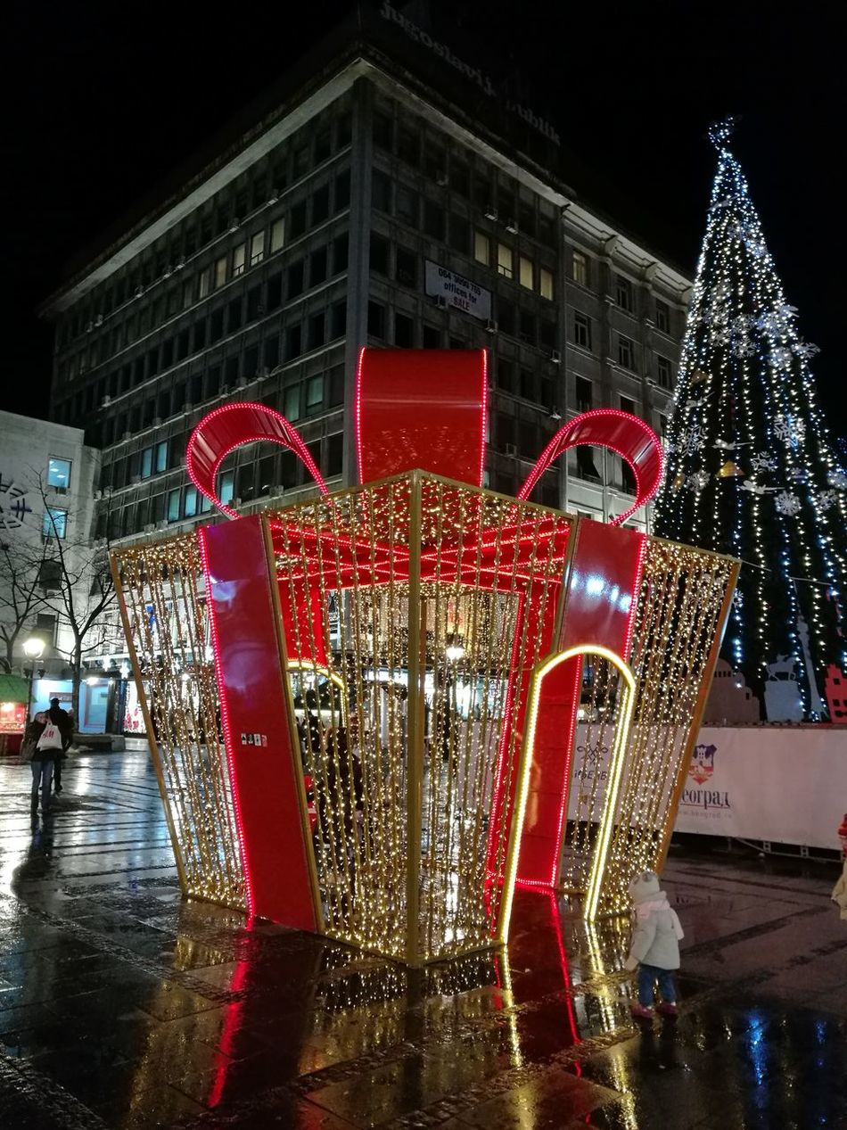 Red Illuminated Night Christmas Celebration Christmas Decoration Outdoors Reflections City At Night Belgrade, Serbia