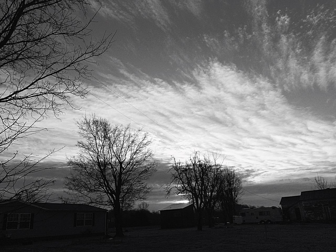 bare tree, sky, architecture, tree, house, building exterior, no people, built structure, branch, outdoors, nature, day