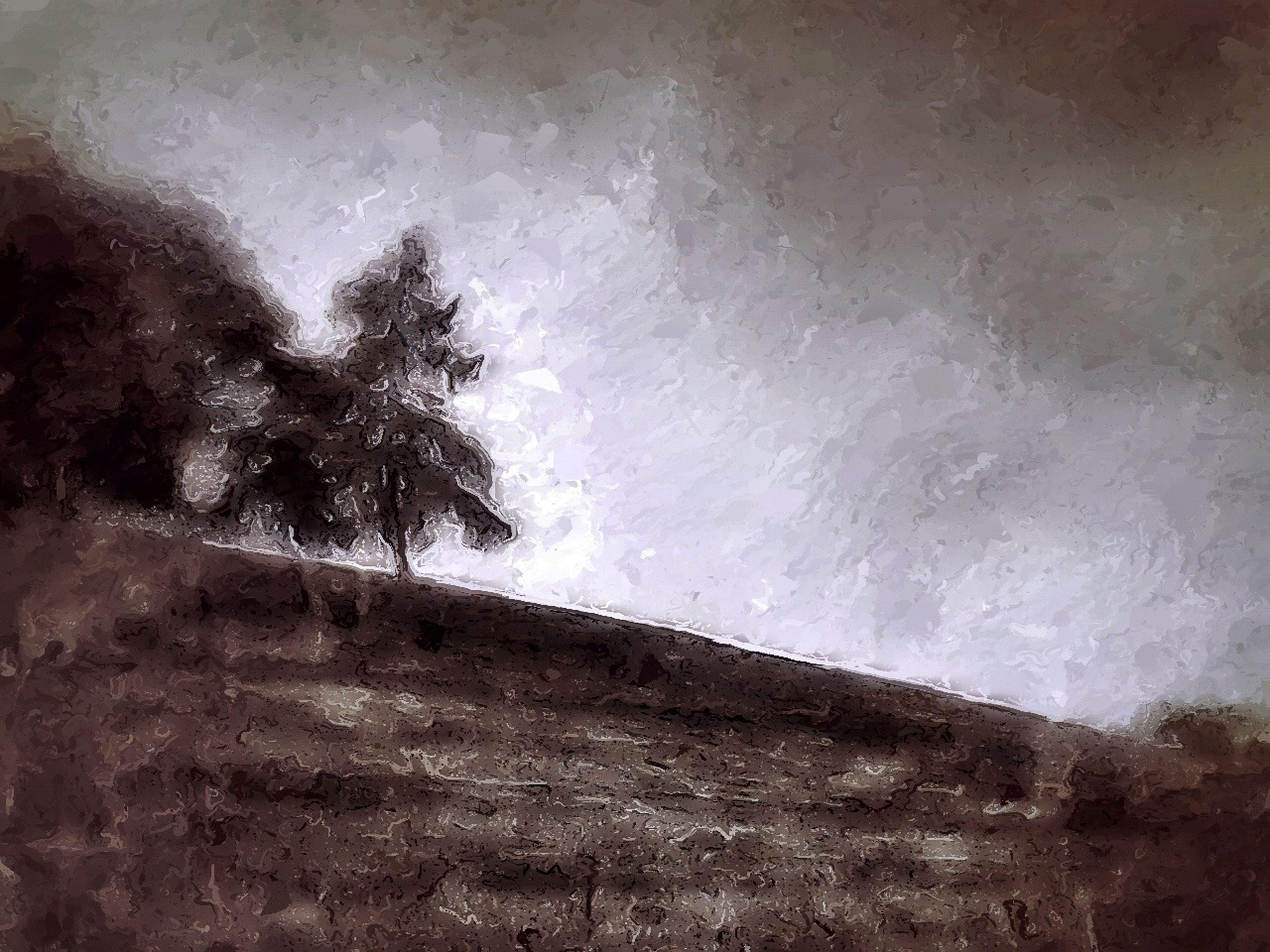 tree, tranquility, nature, wall - building feature, field, landscape, tranquil scene, day, growth, grass, copy space, outdoors, sky, no people, tree trunk, plant, solitude, built structure, abandoned, wall