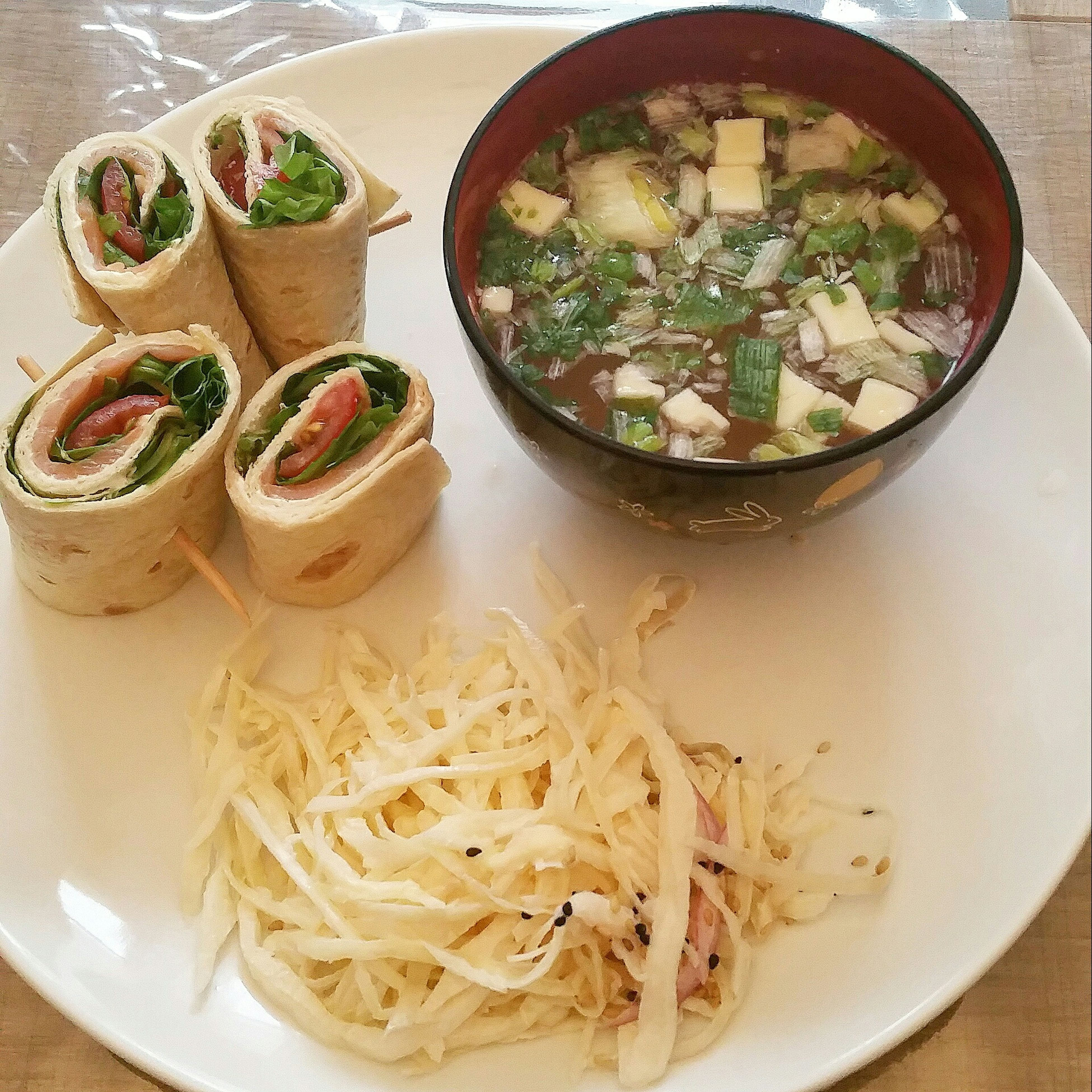 Salmon wrap, japanese cobbage salad and miso soup !!! Foodporn Dietfood Diet Salmonwrap Wrap Healthyfood Healthy Food Frenchfood Misosoup