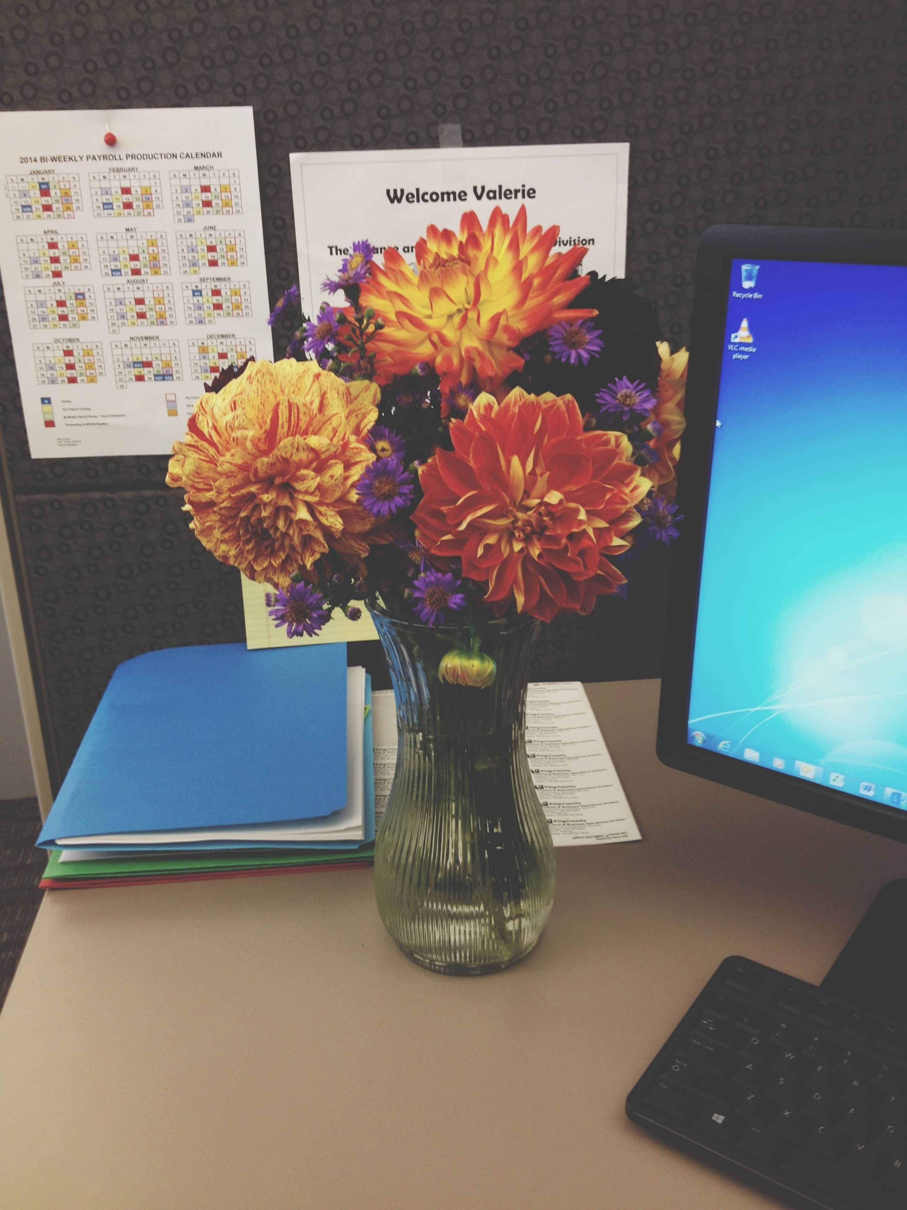 indoors, flower, table, vase, freshness, fragility, high angle view, home interior, petal, still life, decoration, close-up, no people, yellow, flower head, blue, bunch of flowers, variation, flower arrangement, glass - material