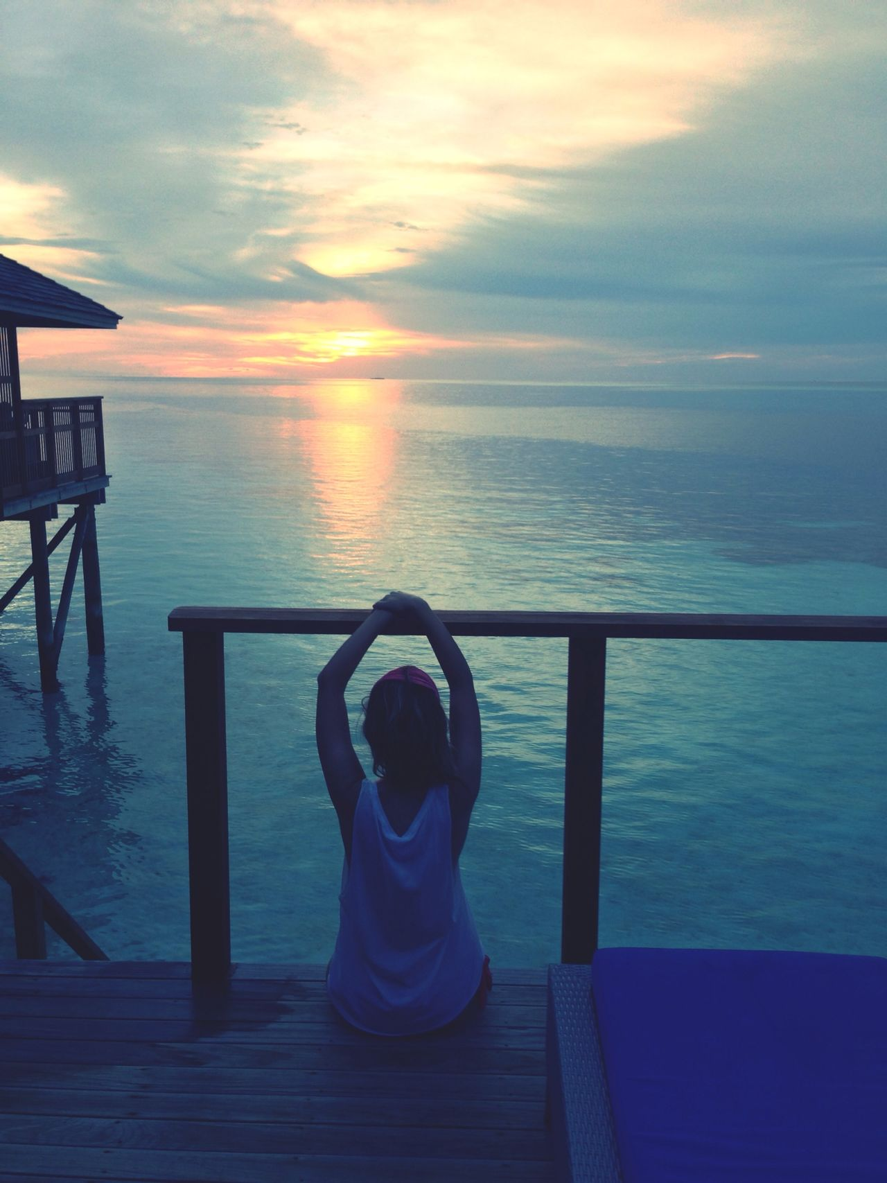 Relax take it easy. Ocean View Bungalow Sunset Silhouettes