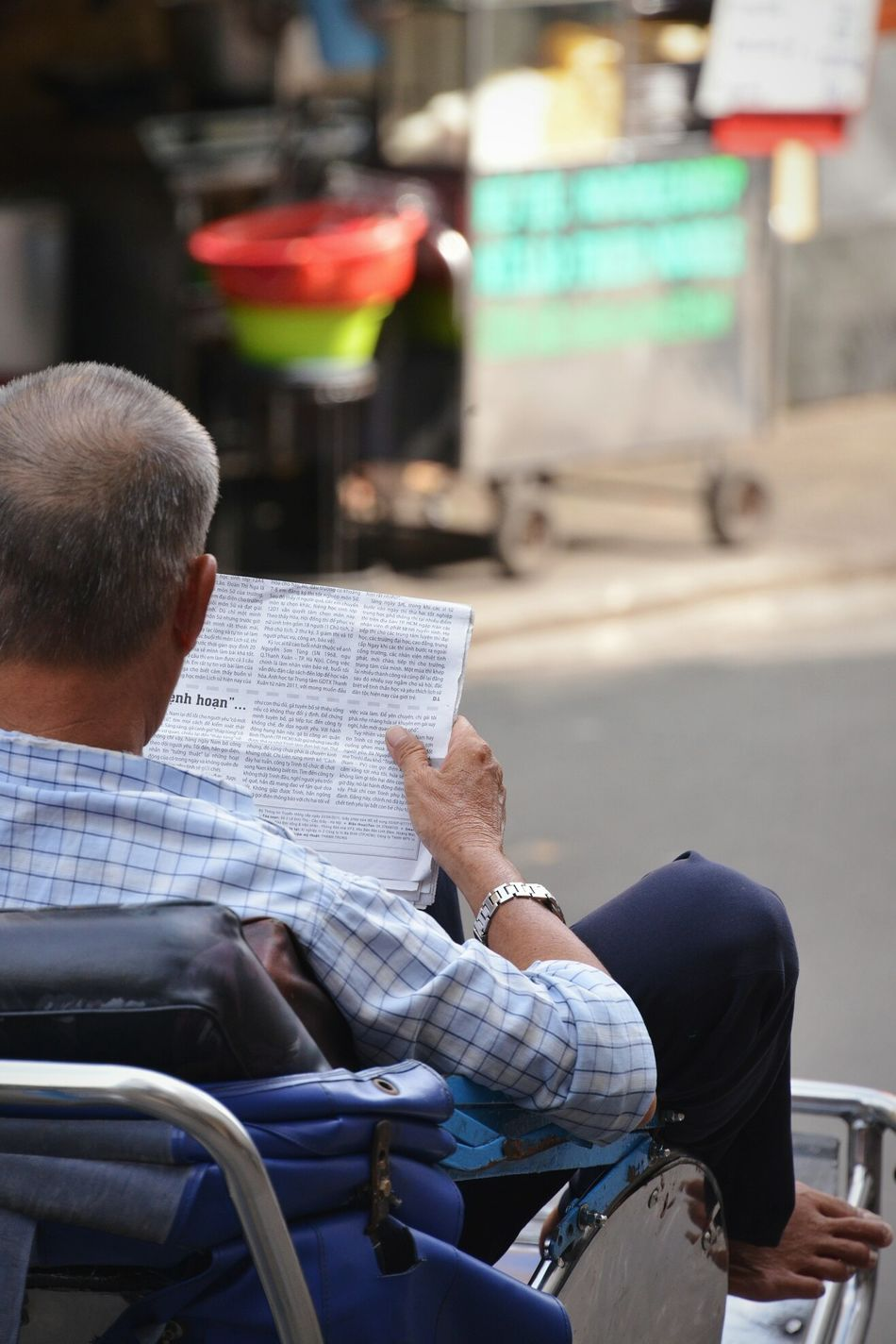Beautiful stock photos of newspaper, Architecture, Barefoot, Building Exterior, Chair