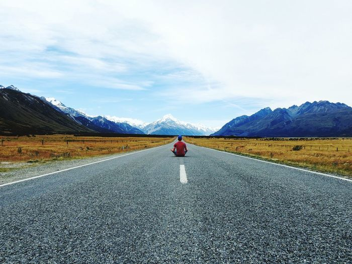 Let's Go. Together. One Person Mountain Adults Only Full Length Rear View Adult Road The Way Forward Mountain Range Cloud - Sky People Day Scenics Outdoors Landscape Beauty In Nature Nature Tranquil Scene Adventure Roadtrip Mount Cook Man On The Street Breathing Space