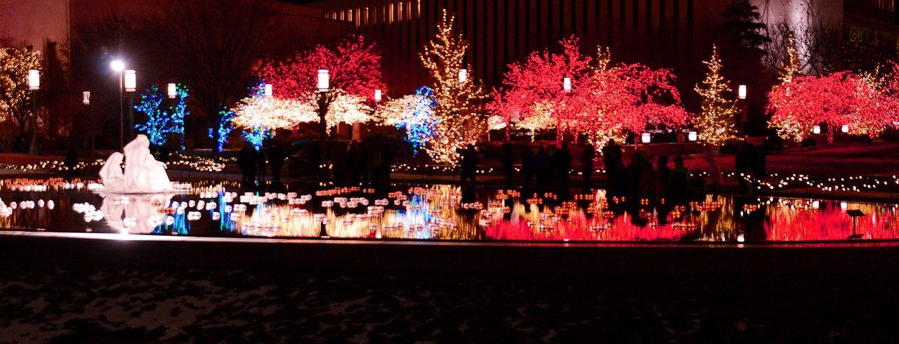 Visiting Temple Square, in Salt Lake City, Utah, I happened upon this gorgeous scene. Beautiful Celebration Celebration Event Christmas Christmas Decoration Christmas Lights Christmas Ornament Christmas Tree Holiday - Event Holidays Illuminated Nativity Night Outdoors Salt Lake City Temple Square