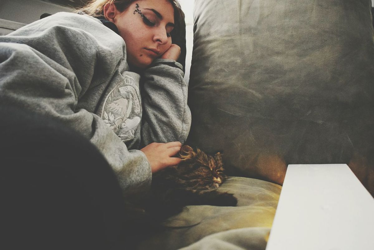 EyeEm Selects One Person Indoors  Wrapped Young Adult Pets Young Women Animal Themes Close-up Warm Clothing Only Women People Love Pets Love Cats Cat Kitty Love Animals Cats Of EyeEm Sleeping Sleeping Cat Sleeping Girl