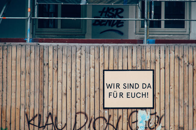 alles wird gut Architecture Building Exterior Built Structure Close-up Communication Day From My Point Of View Information Sign No Parking Sign No People Outdoors Sign Text Wood Wooden Wall