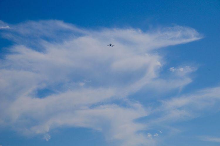 Flying Airplane Sky Blue Cloud - Sky No People Day Getting Inspired Mypointofview Minimalism The Week On EyeEm EyeEm Gallery Exceptional Photographs EyeEm Best Edits EyeEm Best Shots - Landscape