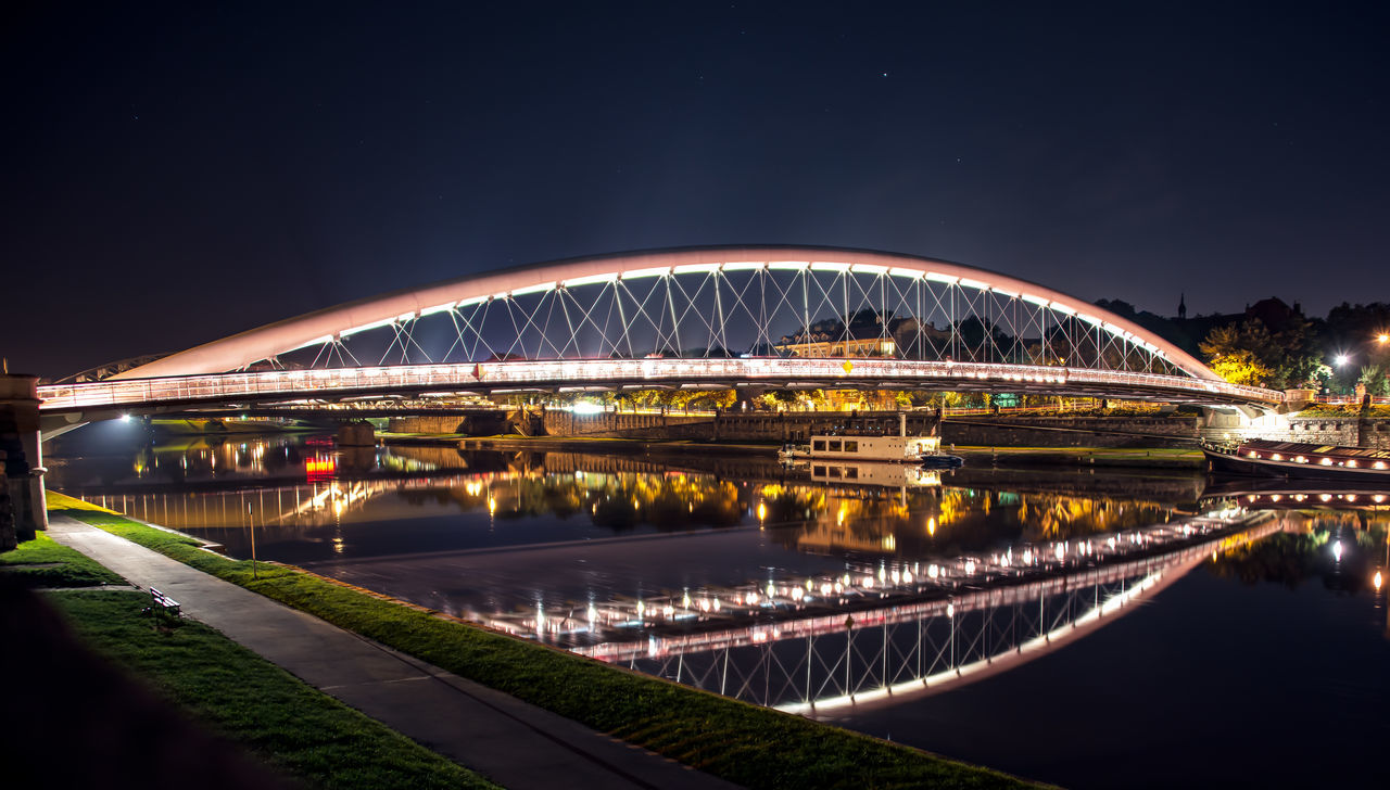 bridge - man made structure, night, illuminated, connection, architecture, built structure, water, sky, outdoors, long exposure, river, city, clear sky, travel destinations, no people, building exterior