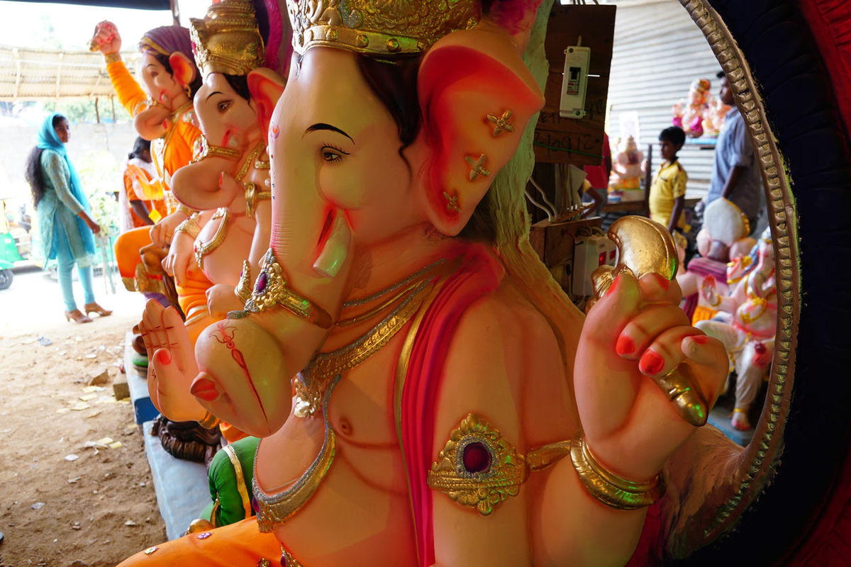 Art And Craft Colros Of Ganesha Ganesha Idols Ganeshfestival Indian Indiapictures Repetition Statue