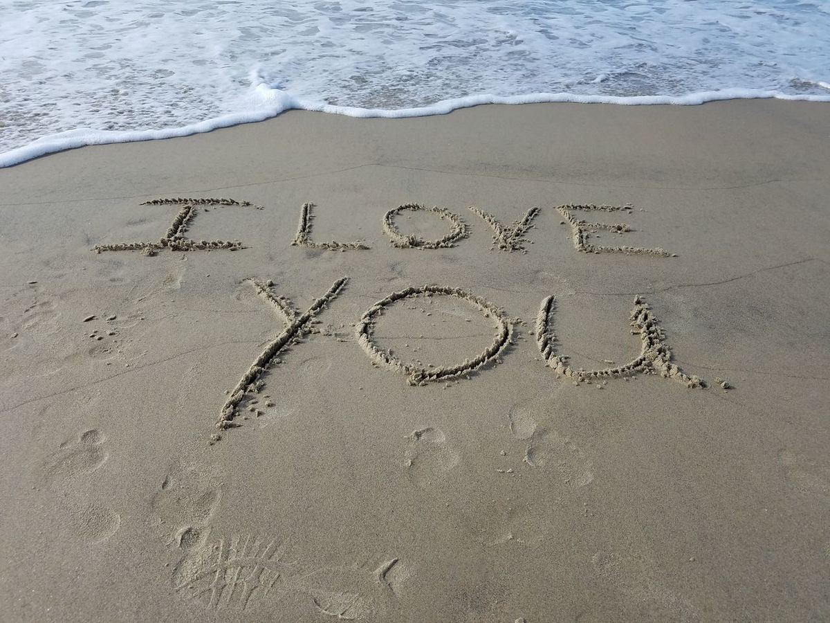 I love you to my husband Beach Beauty In Nature Communication Day Handwriting  I Love You Love Notes Nature No People Outdoors Sand Text