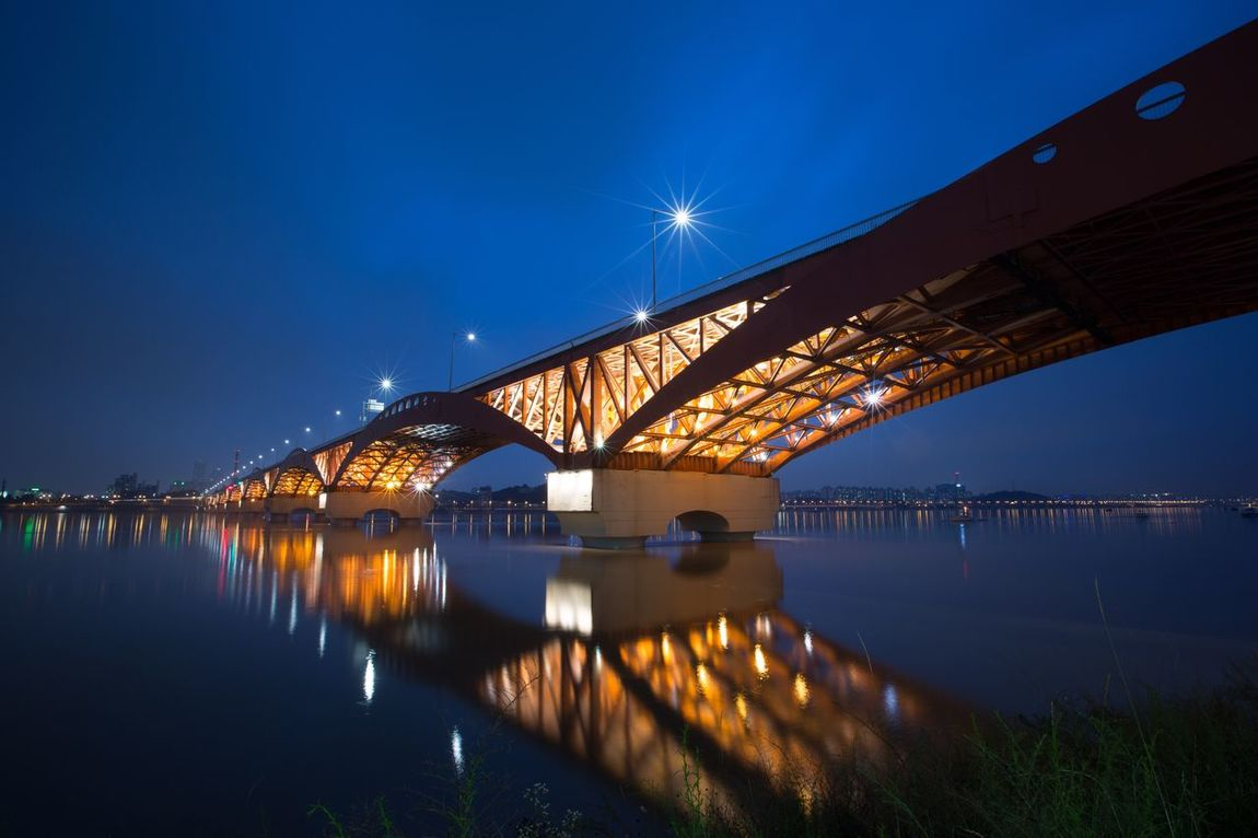 Sungsan Bridge Han River Bridge Seoul, Korea Bridge - Man Made Structure Connection Reflection Water Illuminated Transportation Architecture River Engineering Built Structure Night Blue Sky Outdoors Waterfront No People Travel Destinations Low Angle View City Bascule Bridge Nightview