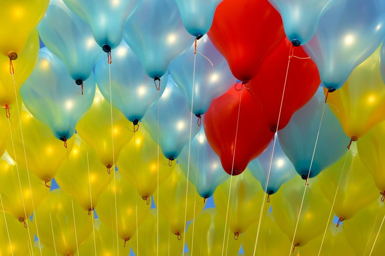 Red Red Balloons Balloon Blue Blue Balloons Celebration Colorful Balloons In Sunshine As Background Day Helium Balloon Multi Colored No People Outdoors Yellow Yellow Balloons