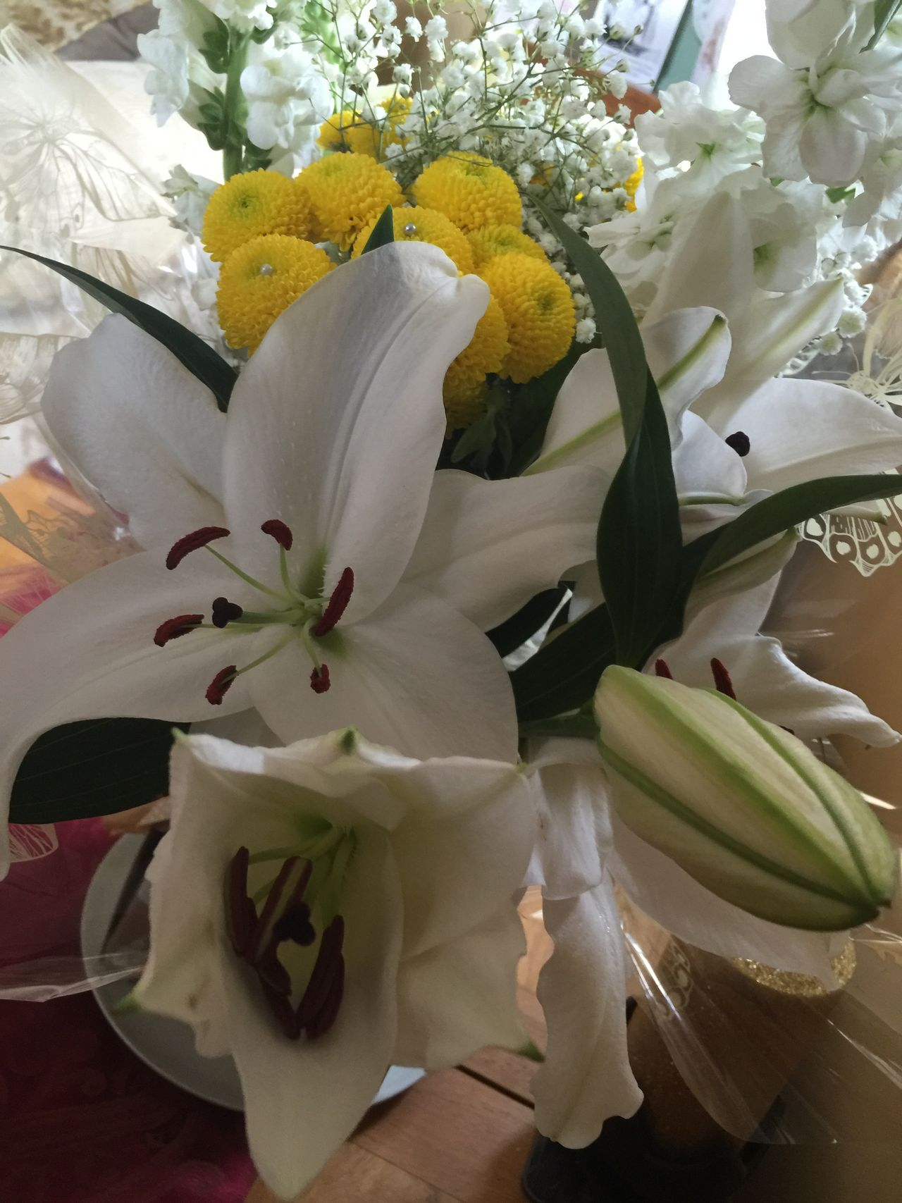 Beauty In Nature Blooming Bouquet Bunch Of Flowers Cheshire Close-up Decoration Flower Flower Arrangement Flower Head Flowers Fragility Freshness Growth High Angle View Indoors  Lillies Urban Spring Fever Lily Nature Petal Pollen Table Vase White Color