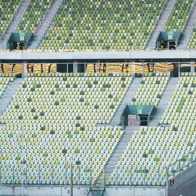Stadium Auditorium Day Empty Seats Food High Angle View In A Row Indoors  Large Group Of Objects No People Plant Nursery Seats Seats Available Sport Arena