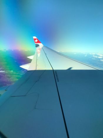 In the air. Swiss Airlines Plane Wings No People Logo Flag Planes Flying Flying High Swissair Swissairlines Planespotting