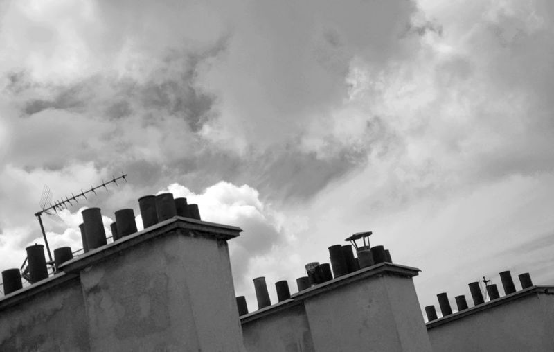 Roof Chimney Black And White Photography Clouds And Sky Sky Clouds Triptych Chimney Tops Paris Rooftop TV Antenna Urbanism Three Of A Kind My Year My View Adapted To The City
