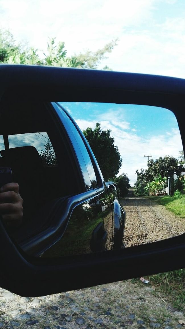 Car Window Mirror Mirror Picture Sky Clouds Trees Blue White