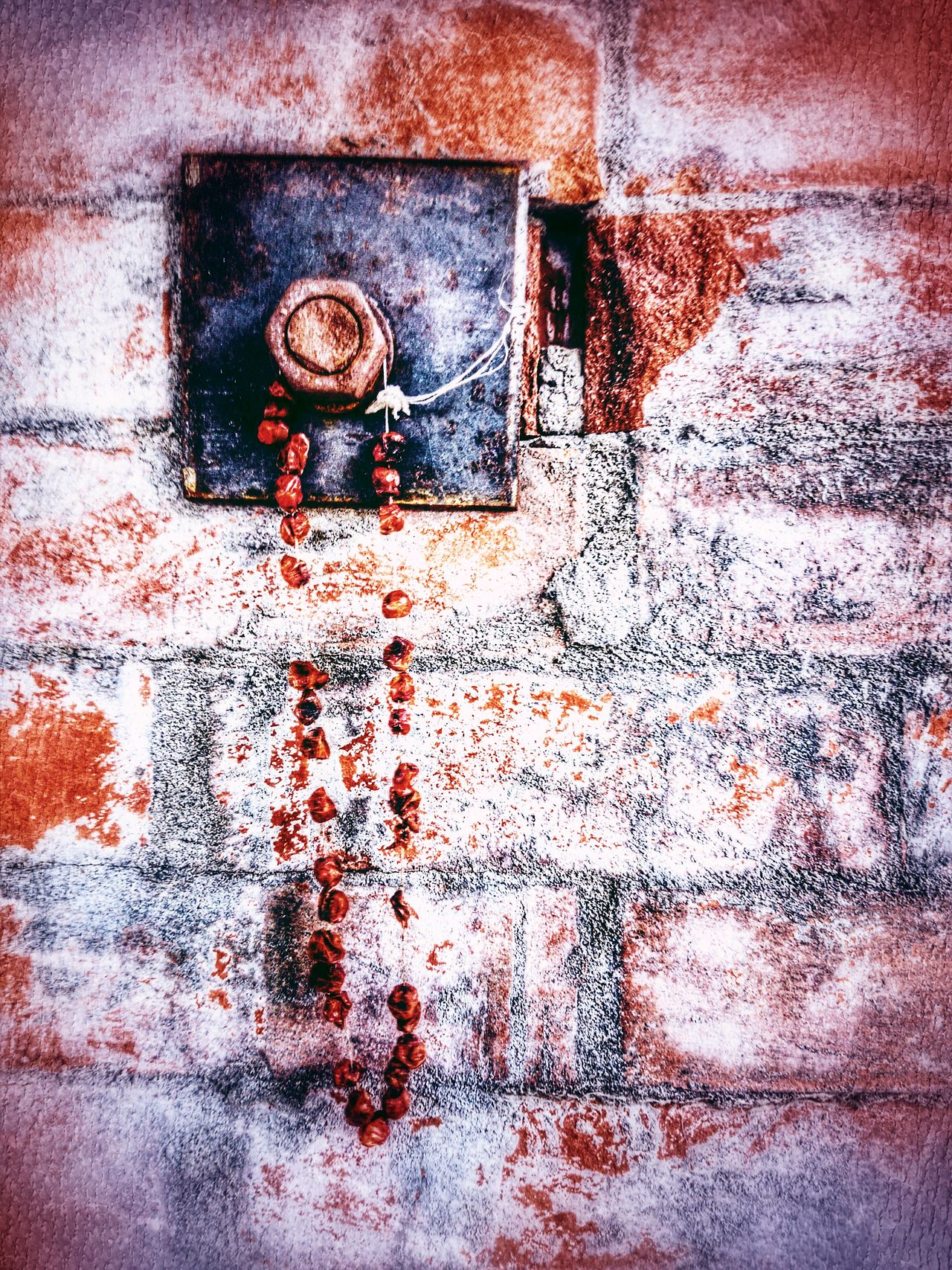 Full Frame Brick Wall Brick Building Auto Post Production Filter Necklace Bolt Nut Rust Rusty Berries Backgrounds Old House Red